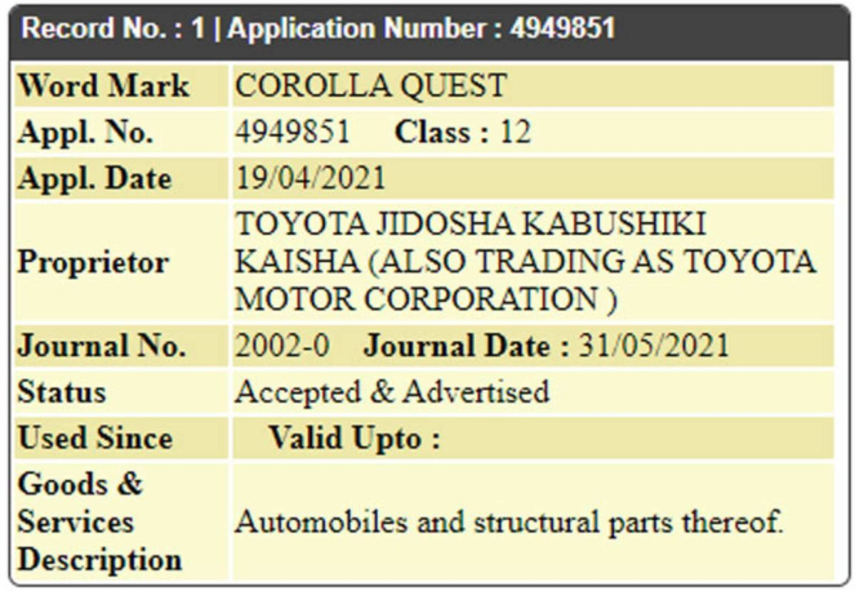 Toyota Corolla Quest trademark