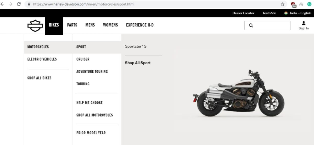 Advert Harley Davidson Sportster S India
