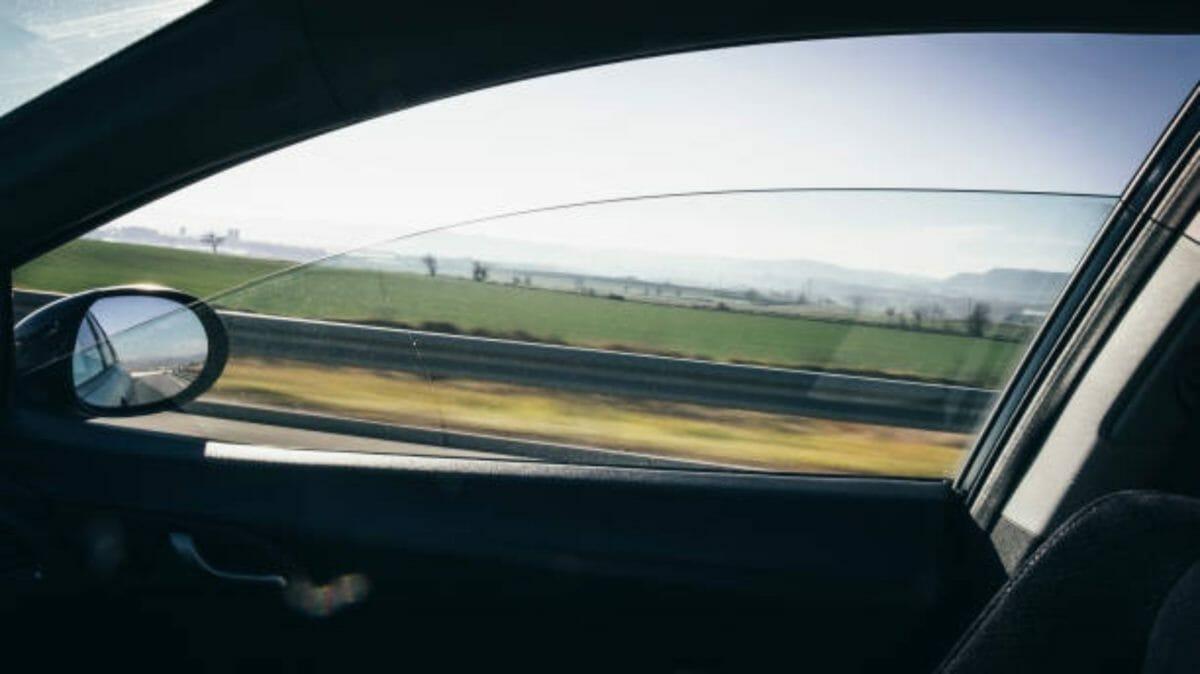 Window car canvas on a movement landscape vie