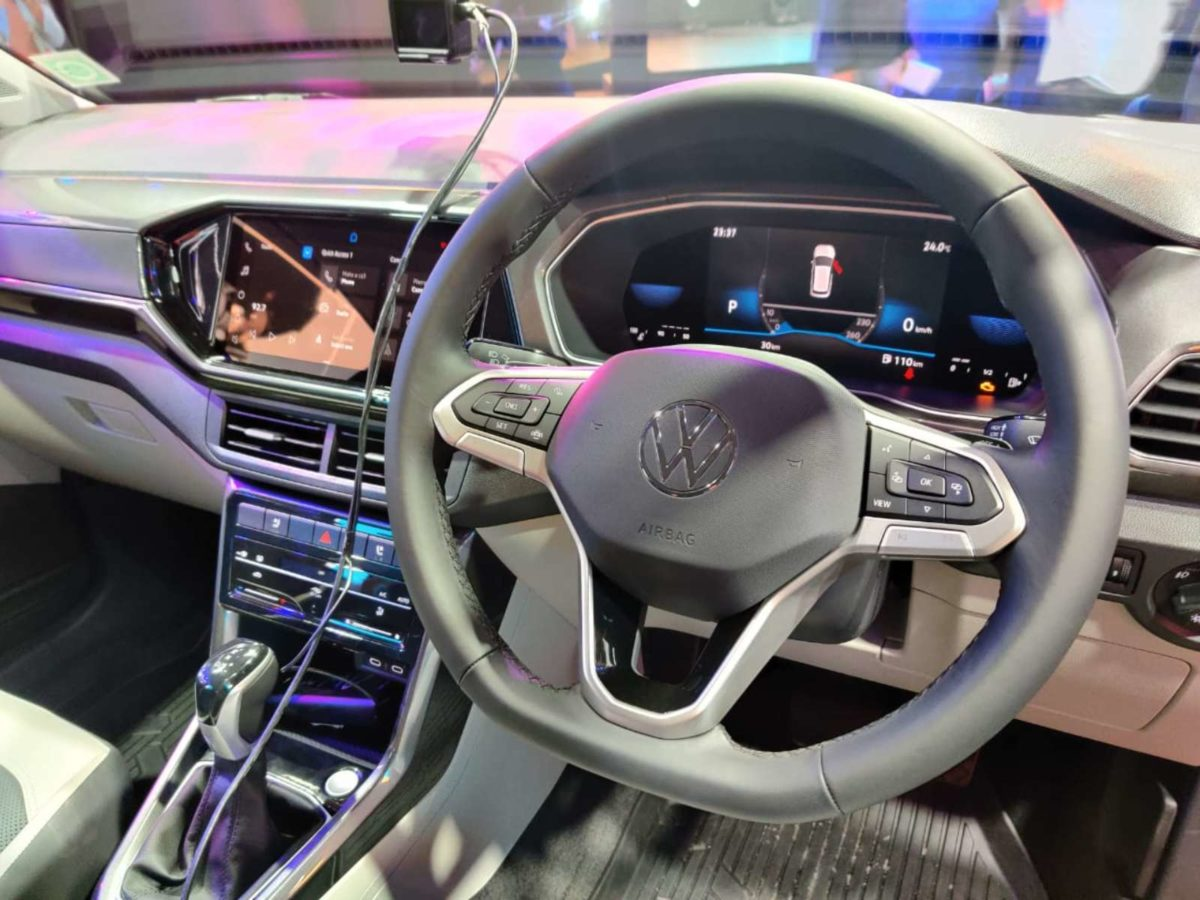 VW Taigun launched in India steering wheel