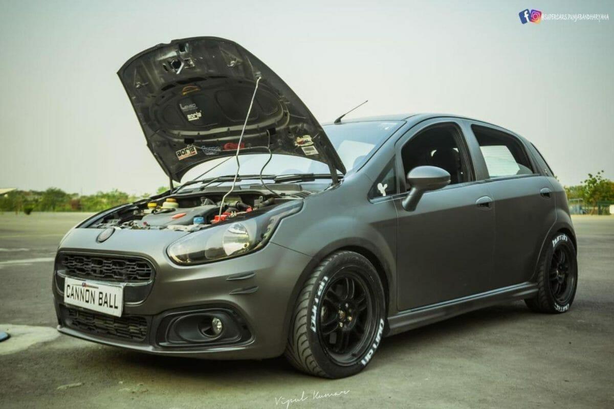 Modded matte black Punto Abarth engine