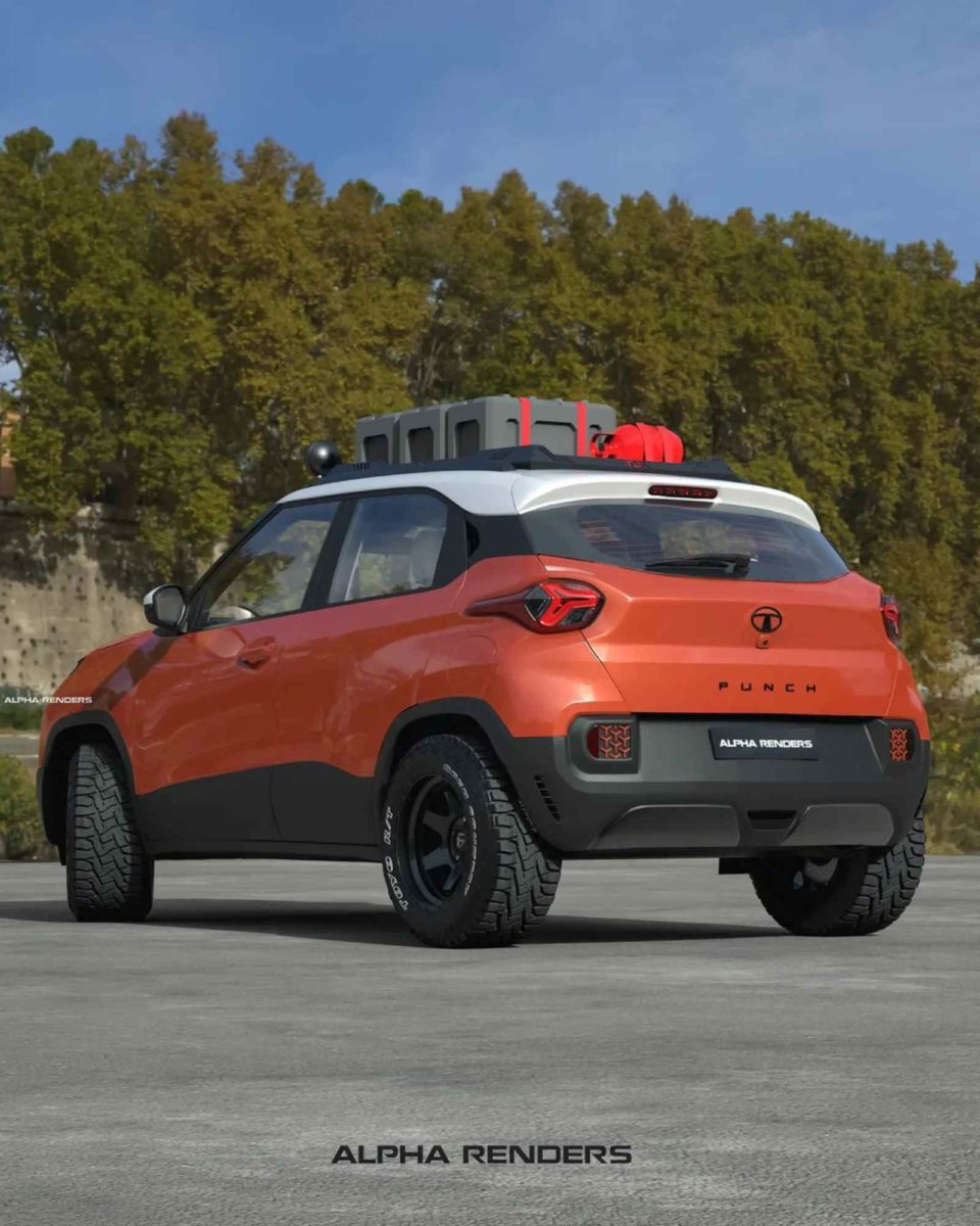 Tata Punch offroad 3D render rear
