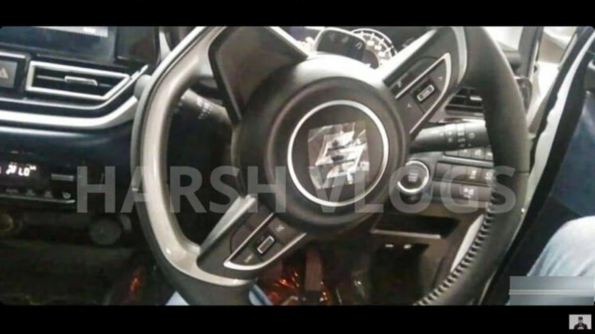 next gen baleno interior spied steering wheel